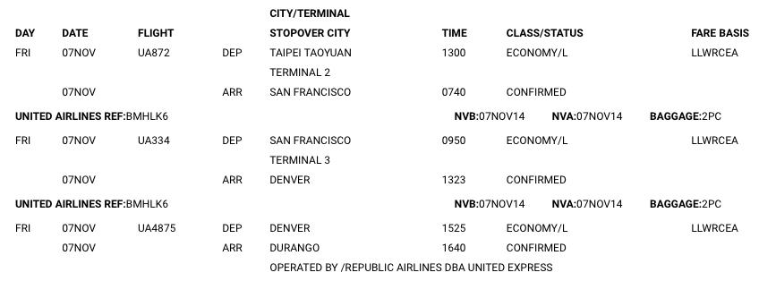 Mexico itinerary 墨西哥飛機行程