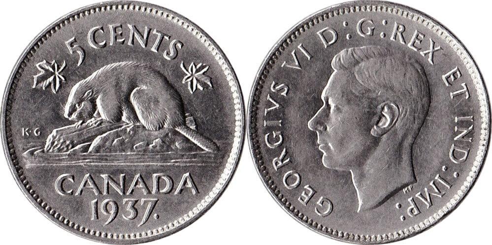 canada coins 5 cents nickel